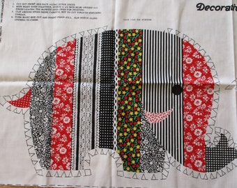 Elephant Fabric Panel, Cut Sew and Stuff Pillow, Red Black White Green Yellow Elephant Fabric Panel, Decorative Elephant Pillow, Elephant