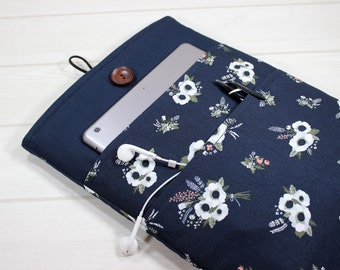11 inch Macbook case, laptop case for her, navy blue laptop case, Macbook sleeve 12, Macbook Air sleeve, unique laptop sleeve, gift for her