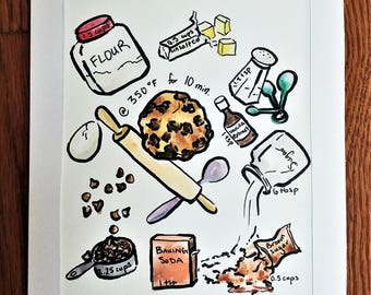 Chocolate Chip Cookie Recipe Watercolor Painting