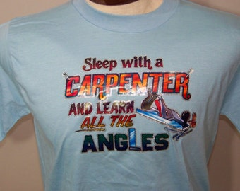 80s Screen Tee T Shirt Funny Sleep With A Carpenter 1980 Skinny Vintage Blue Decal Print 1980s