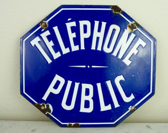 Vintage Metal Sign, French Telephone Sign, Enamel French Sign, Industrial Metal Sign, Blue White French Advertising