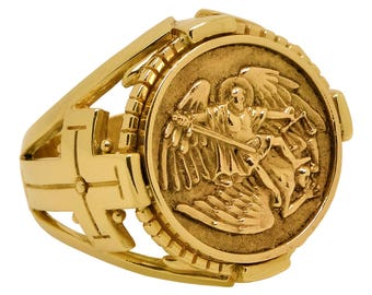 St Michael the Archangel 10k Solid Gold mens Ring The patron saint of police officers , paramedics firefighters and the military US Size