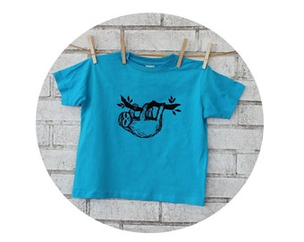 Sloth Hanging on a Branch Tshirt in Youth and Toddler Sizes, Hand Screenprinted, Turquoise Blue, Two Toed Sloth, Three Toed Sloth Cotton Tee