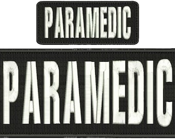 Paramedic Embroidery Patch 10x4 and 5x2 inches Hook backing white letters