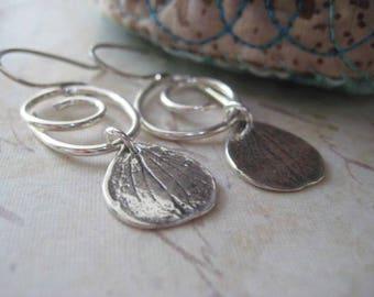 Hydrangea Earrings, Sterling Silver, Hydrangea Petals, Cold Cast Petal, Swirl Earrings, candies64