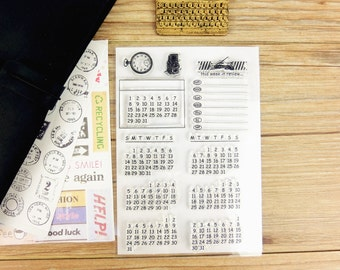 Clear Stamps - Calendar stamps set, journal supplies, journal / planner supplies, transparent stamps, monthly stamps set,week review stamps