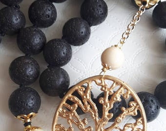 Pearl black lava stone necklace from Etna and pearls bone