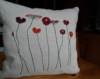 Hand Embroidered floral pillow made of old peasant linen