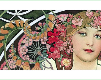 fabric panel - painting by Alphonse Mucha (16). For sewing, patchwork, quilting.