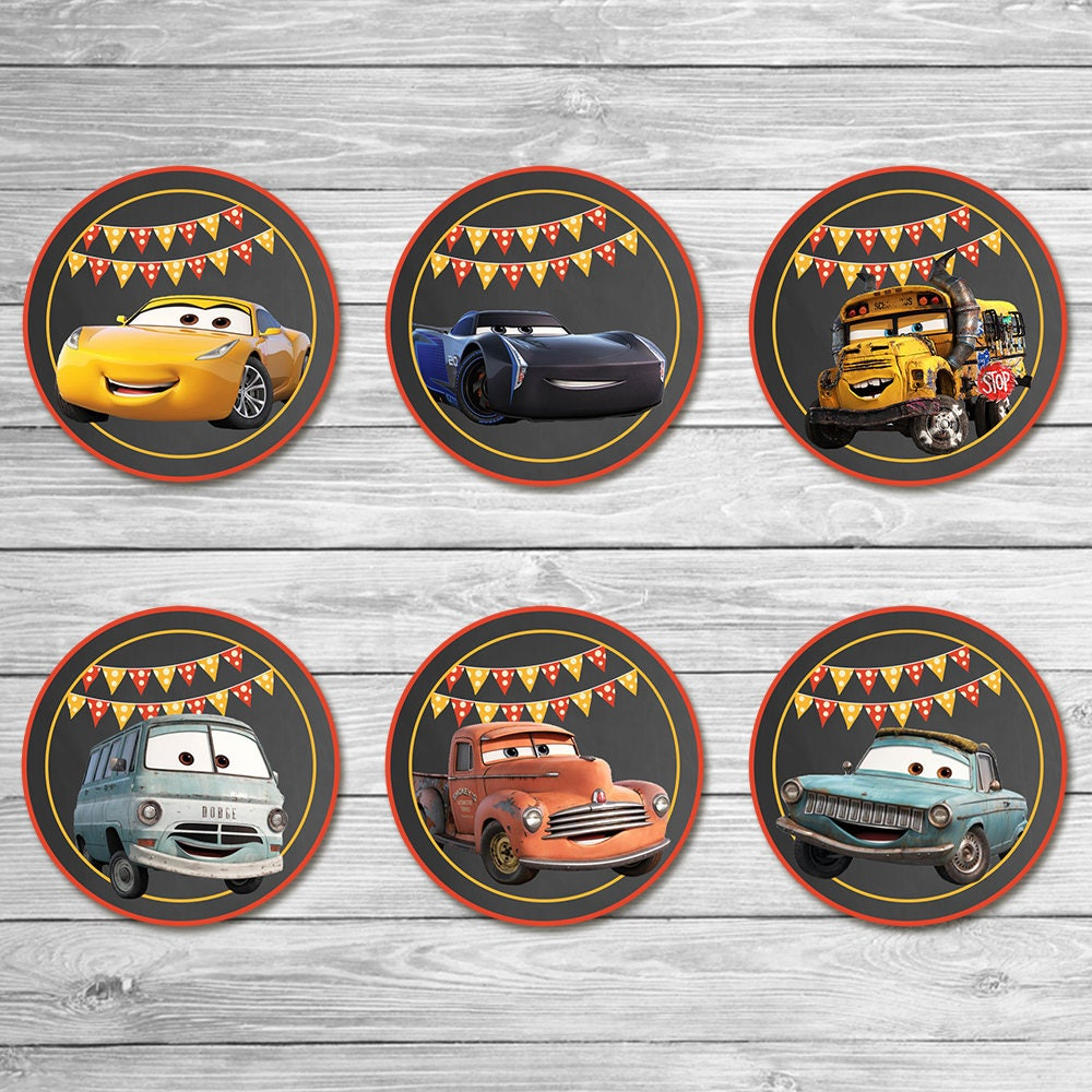 Disney Cars 3 Cupcake Toppers Chalkboard Cars Stickers
