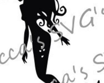 Beautiful Mermaid Silhouette SVG