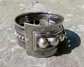 Taxco Silver Jewelry, Taxco Bracelet, Mexican Silver Jewelry, Vintage Taxco Signed Clamper, Margot de Taxco, Beto, Vintage Mexican Jewelry
