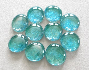 10 Large Flat Glass GLITTER Gems - Iridescent AQUA - Half Marbles - Mosaics/Wedding/Floral Display