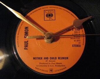 "Paul Simon mother and child reunion 7"" vinyl record clock"