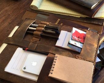 Legal pad portfolio, Multi pocket folder, Office notebook organizer, Leather Portfolio folder, Leather notepad holder, Notebook portfolio