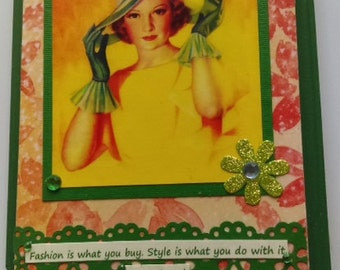 Vintage Lady in Yellow and Green Collage, Coco Chanel quote, Pearl Frush Illustration, Coupon Code  COWGIRL2017 20% OFF OF ITEM