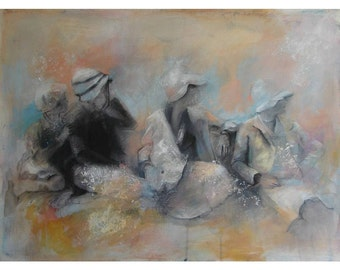 """Large Art Print - Four Women in Vintage Hats - """"Beyond Our Vision"""" -"""