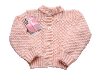 FRENCH VINTAGE 50/60's / girl waistcoat / pink wool blend / new old stock / size 2 years