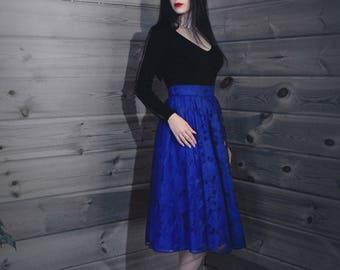 Blue skirt midi guipure
