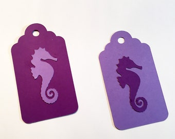 20 Seahorse thank you gift tags, Goody bag tags, Thank you cards, Under the sea party, Seahorse party
