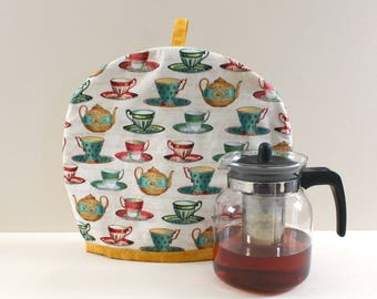 Cups pattern Tea Cozy, Large cotton Tea warmer with insulation.Handmade Teapot cozy is an excellent gift for tea lovers. cotton tea cozy.