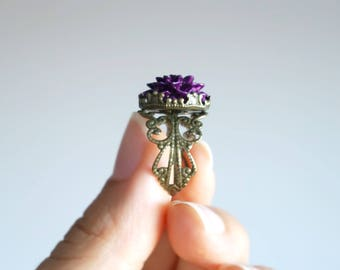 Dark Purple Dahlia Ring Aubergine Statement flower ring Retro Nature Adjustable rings for Women birthday Gifts bridesmaids gifts on a budget