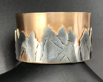 Sterling Mountain Range on Brass Cuff