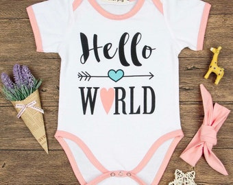 Infant babygirl onesie hello world pink white baby shower
