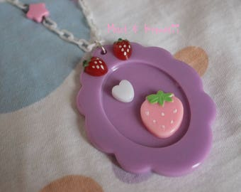 Strawberry necklace cameo