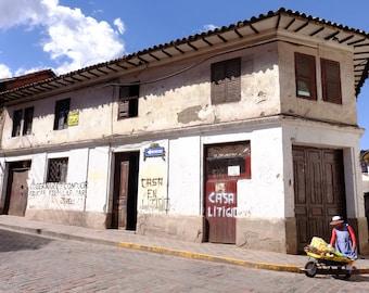 Typical street scene in Cuzco, Peru.