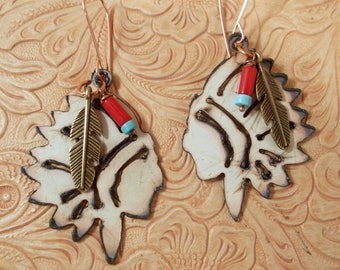 Off White Indian Chief Dangle Earrings with Coral and Turquoise Howlite