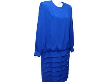 1980's Dress Royal Blue Drop Waist Vintage Size 14 Mother of the Bride Long Sleeve Designer Elegant Couture Dominic Rompollo Jena Roberta