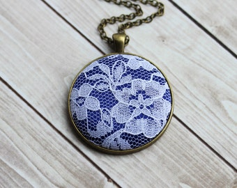 Cobalt Blue Necklace, Unique Bridesmaid Jewelry, Lace, Anniversary Gift, White Floral
