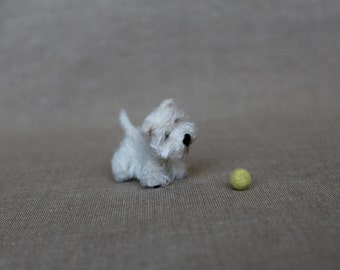 West Highland white terrier - needle felted Ooak miniature dog - Collectible artist animals - dollhouse- needle felting - felted animals