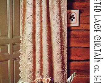 Crochet Lace Squares Curtain, Tablecloth or Bedspread vintage pattern 9 pages DIGITAL Instant Download PDF rustic make to any size