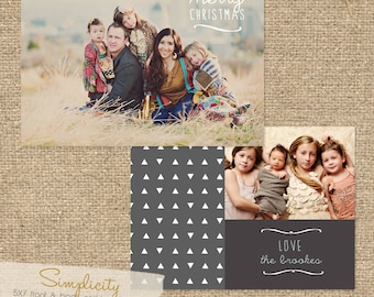 INSTANT DOWNLOAD Simplicity 5X7 Custom Photo Christmas Card Template