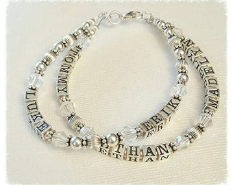 Multi Strand Beaded Name Bracelet, Mother's Grandmother's, Sterling Silver Bead, Personalized w/ Birthstone Crystals, 1,2,3 or 4 Strands
