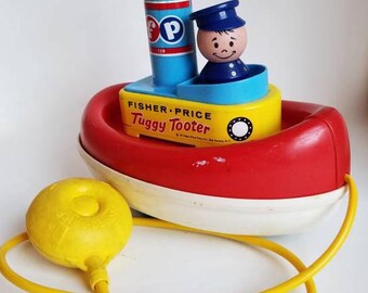 Vintage Fisher Price Tuggy Tooter Pull Toy