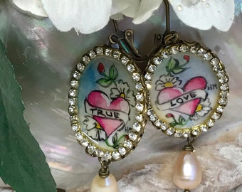 Lilygrace Tattoo Handpainted True Love Heart Cameo Earrings with Vintage Rhinestones, and Pink Freshwater Pearls