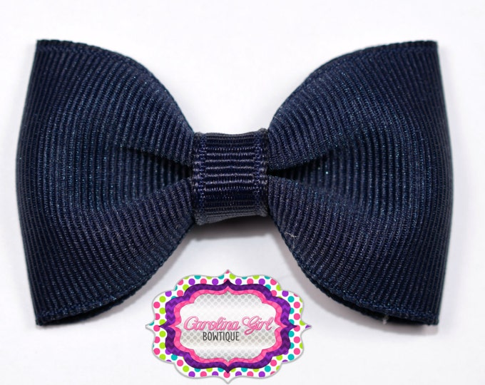 "Navy 2.5"" Hair Bow Tuxedo Bow Simple Bow Boutique Bow for Babies Toddlers Girls Hair Bows"