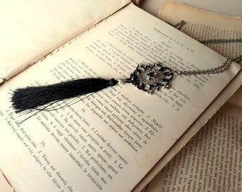 Long necklace, black and silver, mixed media necklace, tassel necklace, modern, handmade lace, ONE OF A KIND