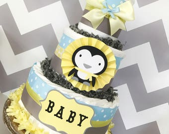Penguin Diaper Cake in Blue, Gray and Yellow, Penguin Baby Shower Centerpiece