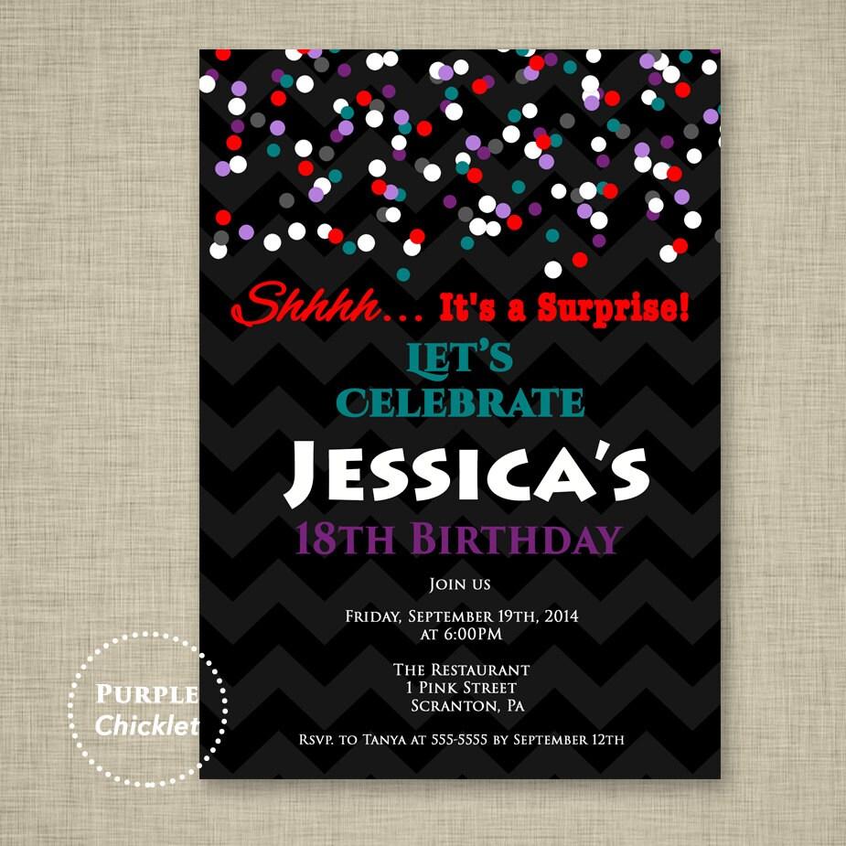 Surprise Party Invite 18th Birthday Invite Red Teal Purple
