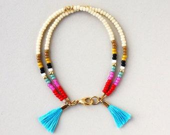 Bracelet for Women, Beaded Bracelet for Women, Seed Bead Jewelry, Multicolor Boho Bracelet, Boho Chic Bracelet, Stocking Stuffer