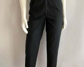 Vintage Women's 80's Black Pants, High Waisted, Tapered Leg (S)