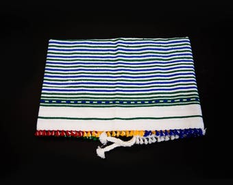 "Cotton Stripe Pom Pom Towel / Rif Textile / 3'10"" x 2'7"""