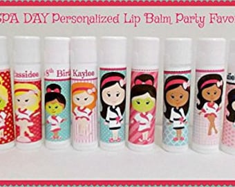SPA DAY Lip Balm Favors - Girls Spa Party Favors - Kids Spa Party Favors - Free Personalization - Individual - You Select The Quantity