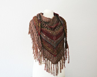 Knit shawls wraps Knitted shawl with fringe Knit oversized stole Wool knit shawl Brown shawl birthday gift for mom Anniversary gift for wife