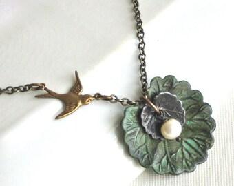 Patina Leaf Necklace - Bird Necklace, Leaf Jewelry, Nature Jewelry, Verdigris