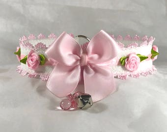 Pink and white ribbon and lace collar (Day Collar, Pastel Goth, Pet Play, ABDL, DDLG)